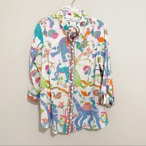 Gretchen Scott Animal Printed Button Down Shirt S